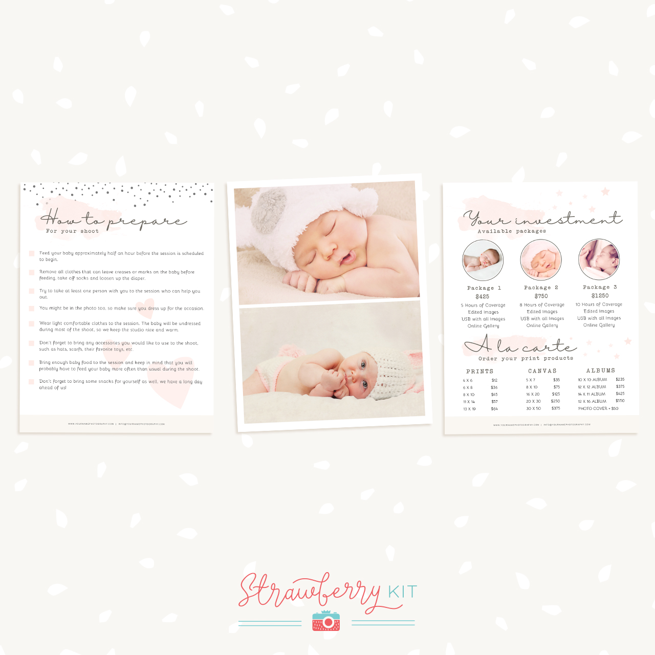 Newborn Magazine Template for Photographers - Strawberry Kit