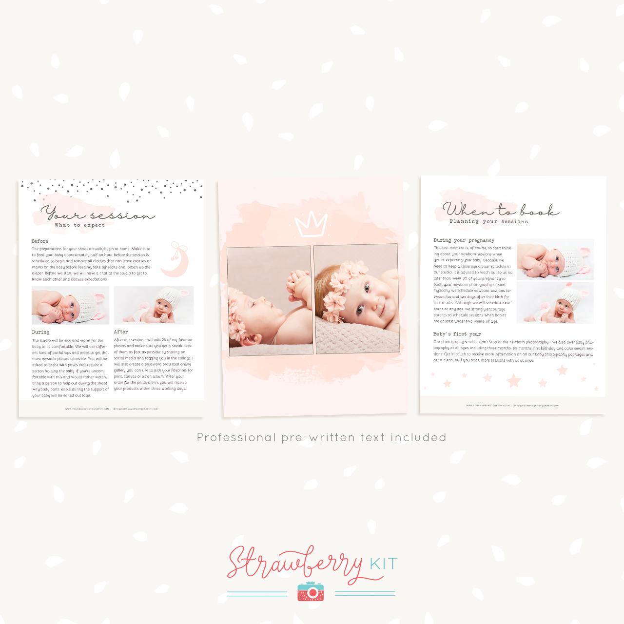 Newborn Photography Magazine Template - Strawberry Kit