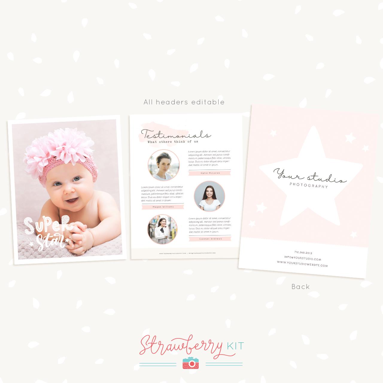Photography Newborn Magazine Template - Strawberry Kit