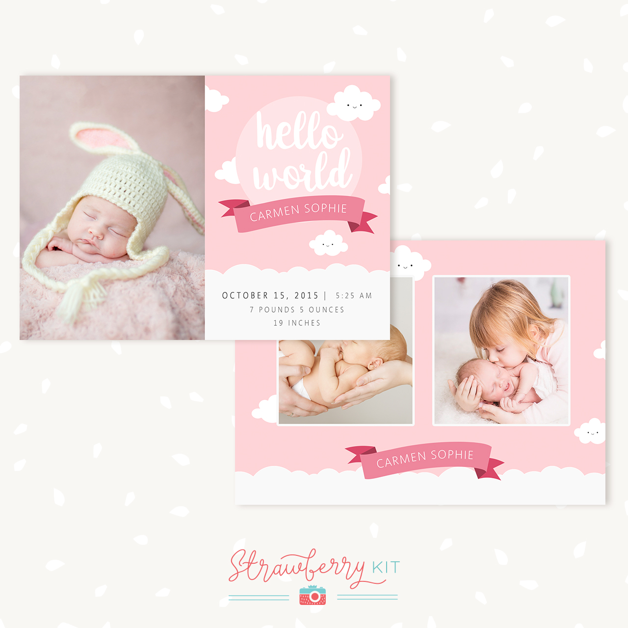 Birth Announcement Template Happy clouds Strawberry Kit – Birth Announcement Photoshop Template