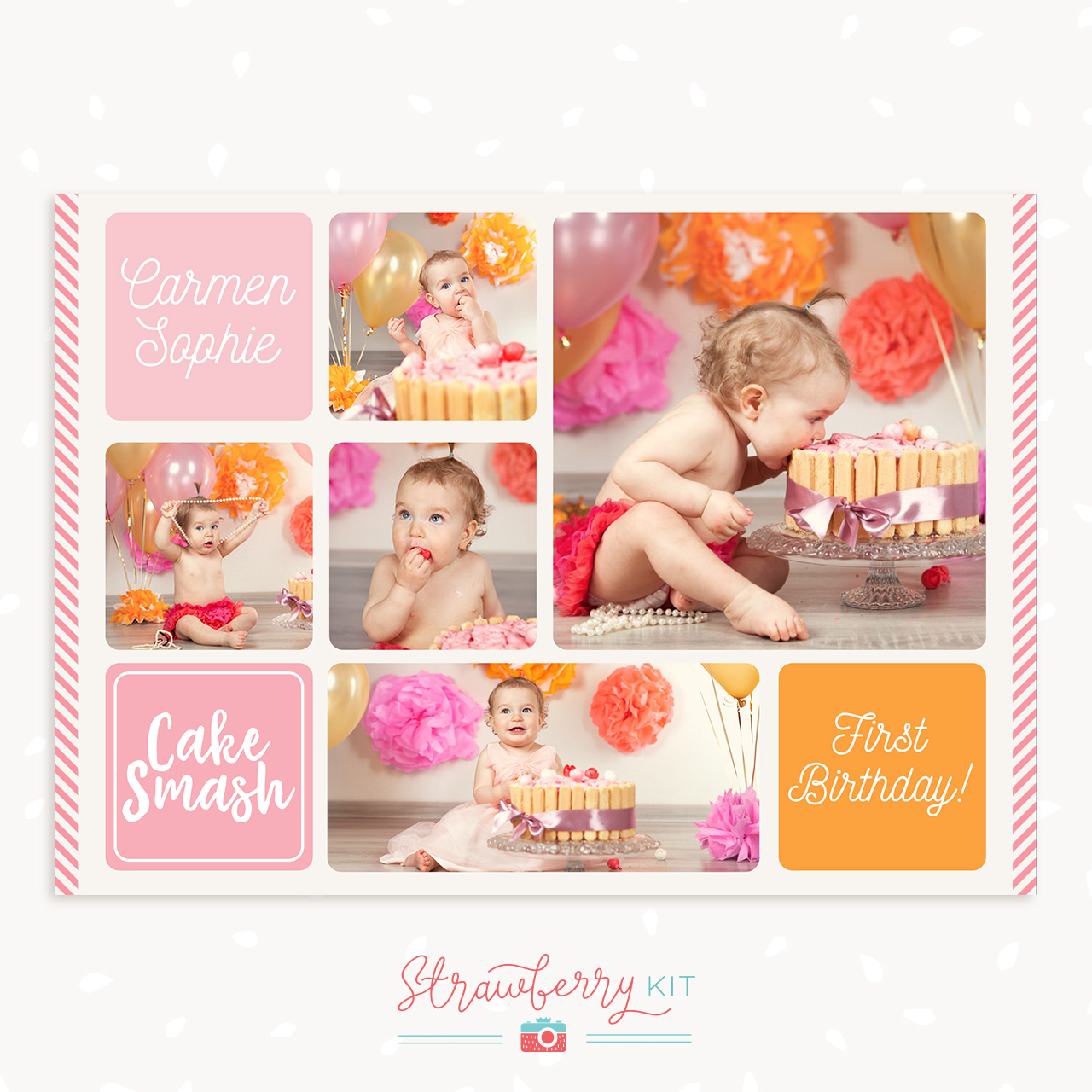 Cake Smash Collage Template Free
