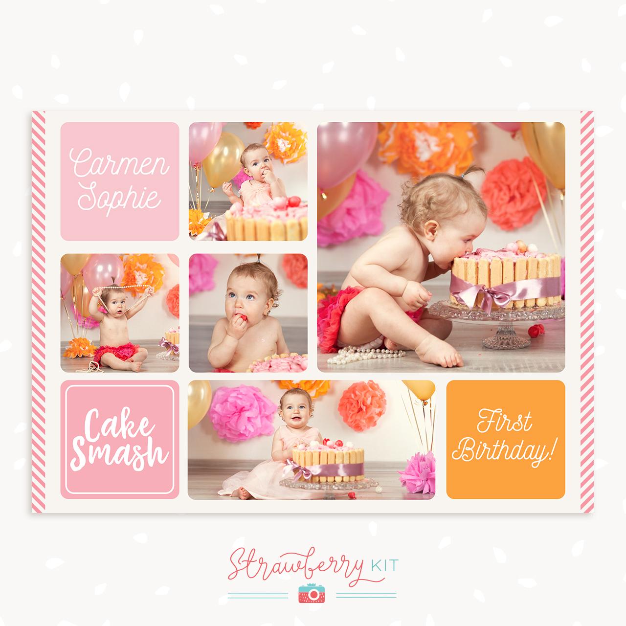 Cake Smash Collage Template Strawberry Kit