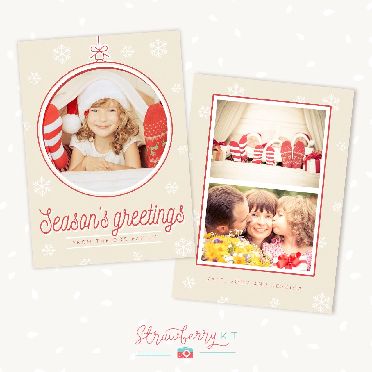 Christmas Card Template Christmas Ball Strawberry Kit - Christmas card templates for photographers 2