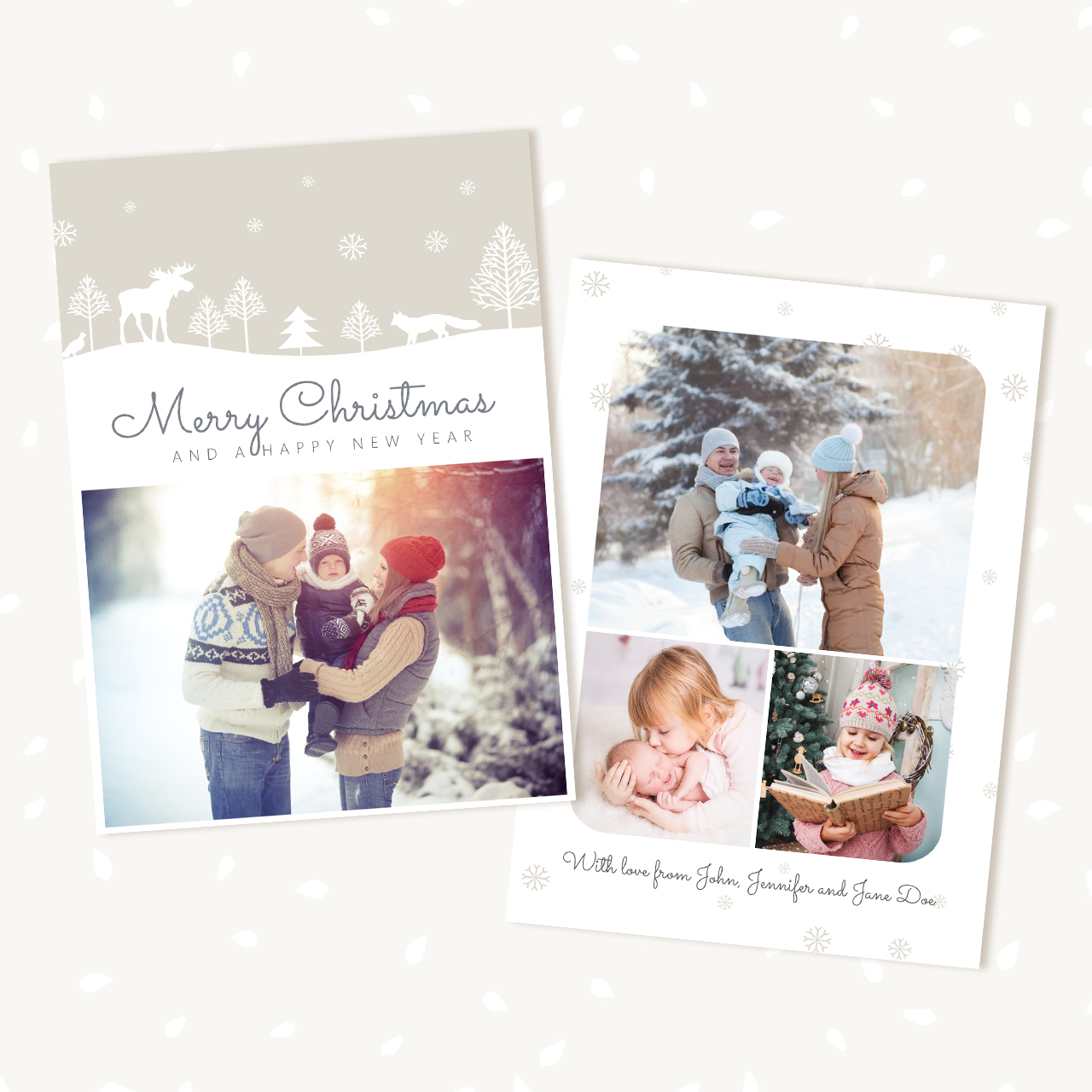 Christmas photo card template quotwoodland snowquot strawberry kit for Christmas card template for photographers