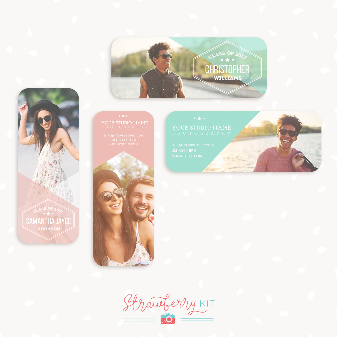 Senior Rep Cards Templates for Photographers - Strawberry Kit