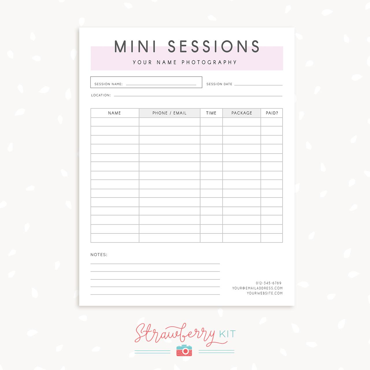 Mini session sign up form strawberry kit for Free mini session templates