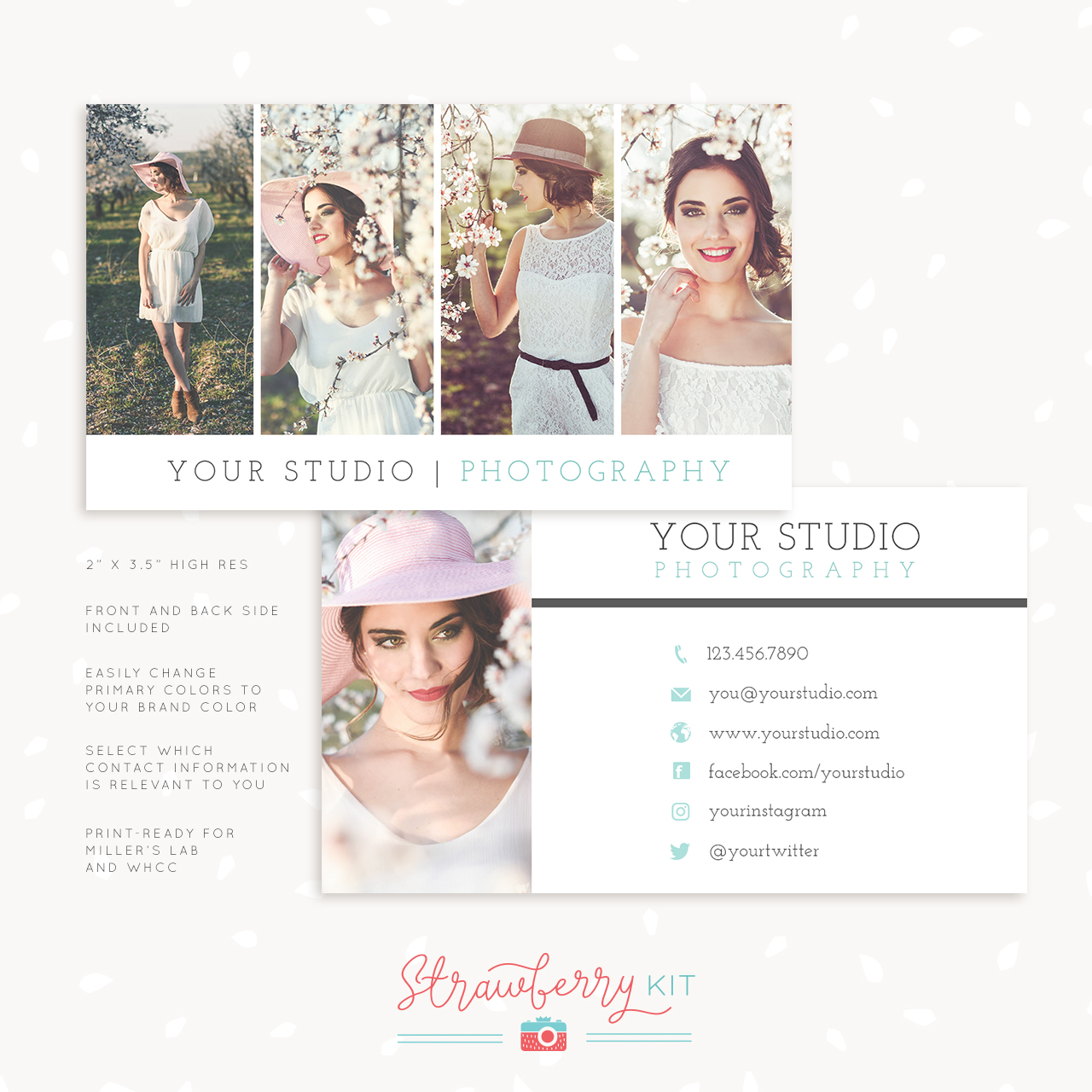 photography business card template elegant gallery strawberry kit