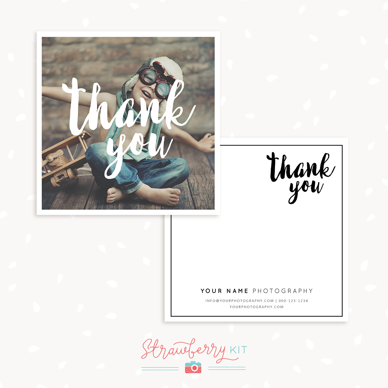 Thank You Note Card Template Strawberry Kit