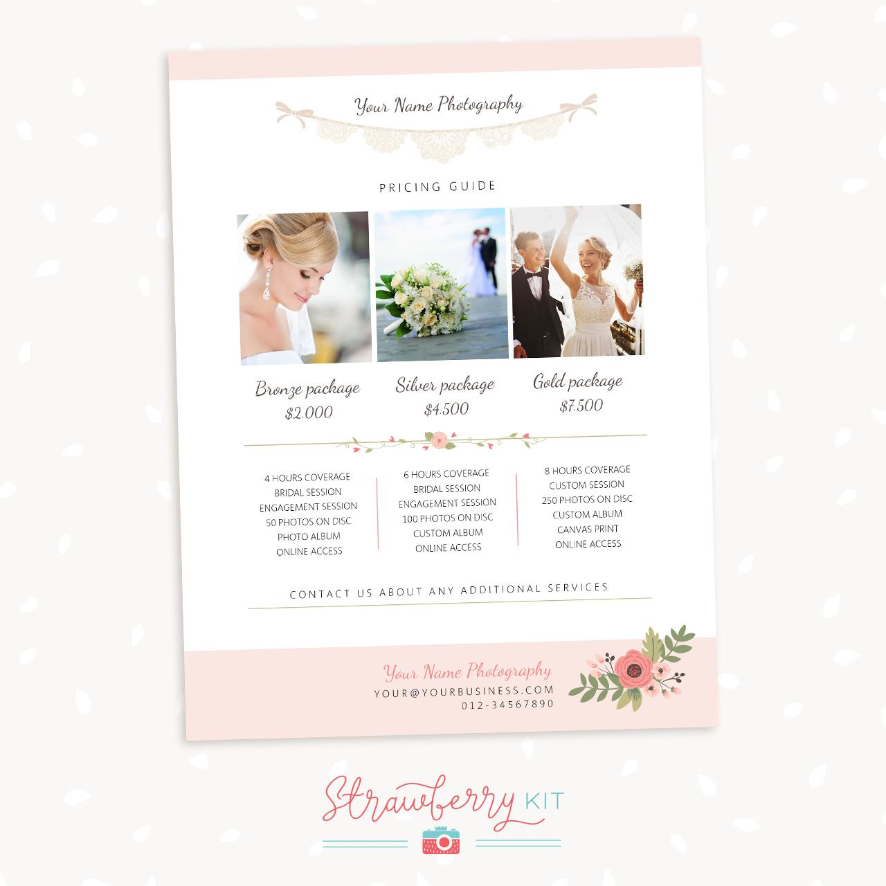 Wedding Price List Photoshop Template