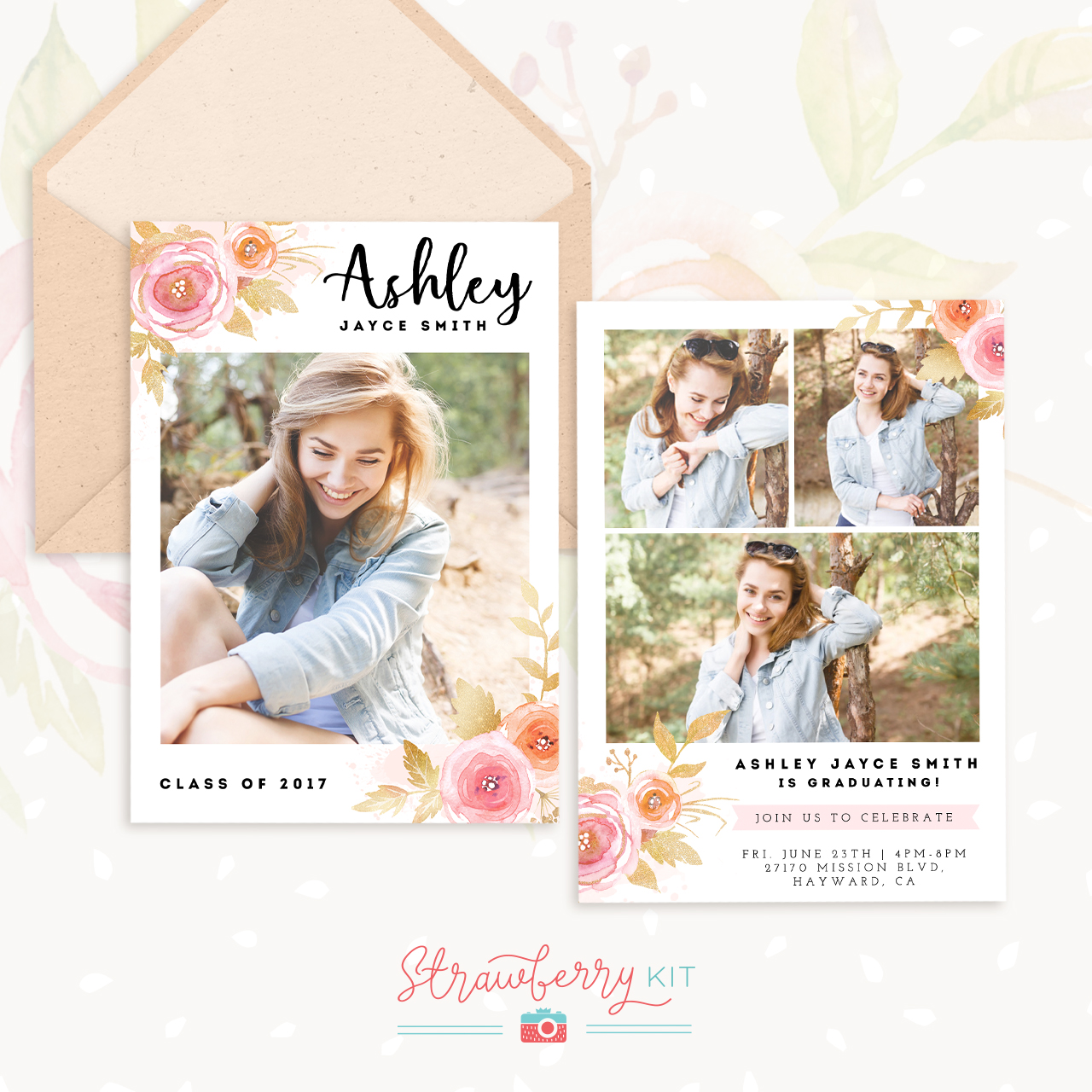 Floral Senior Graduation Template Strawberry Kit