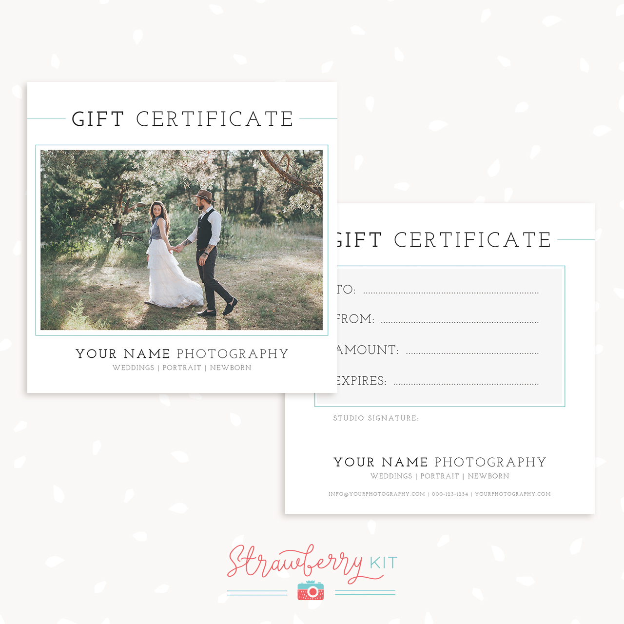Classic Photography Gift Certificate Template Strawberry Kit