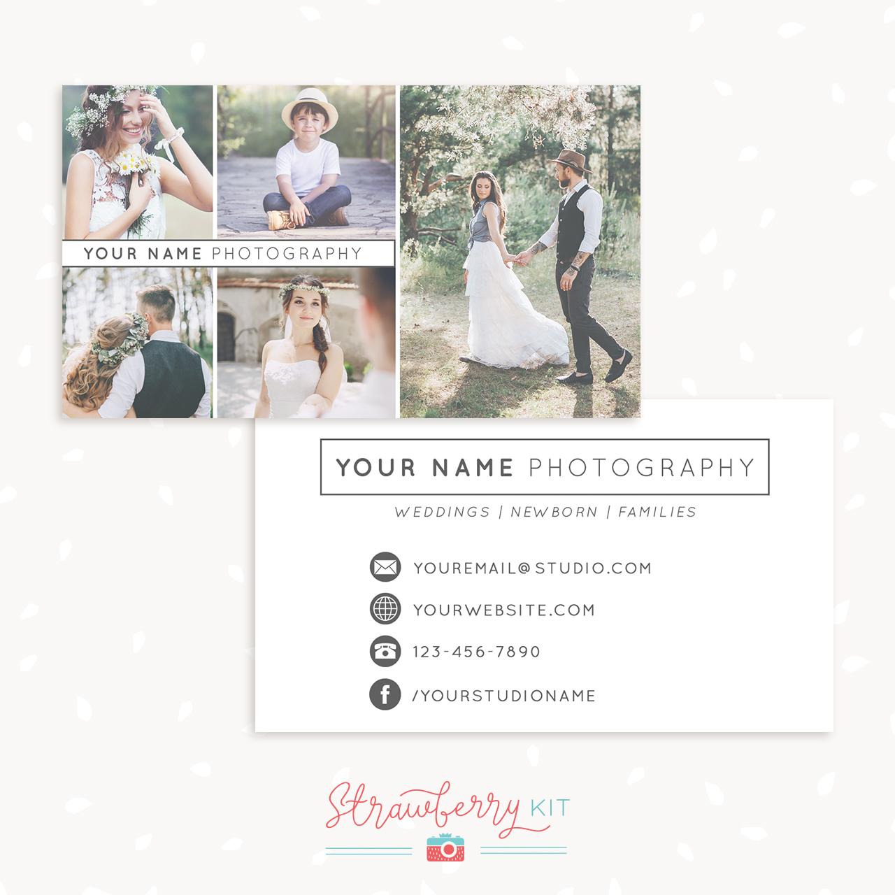 Minimalist Photography Business Card Template - Strawberry Kit