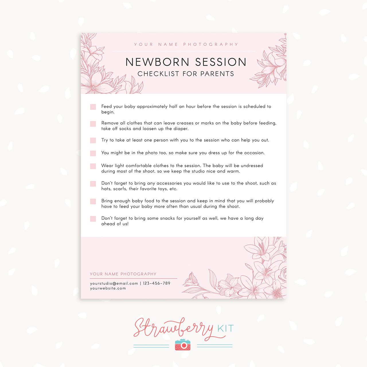 Newborn sessions checklist photography