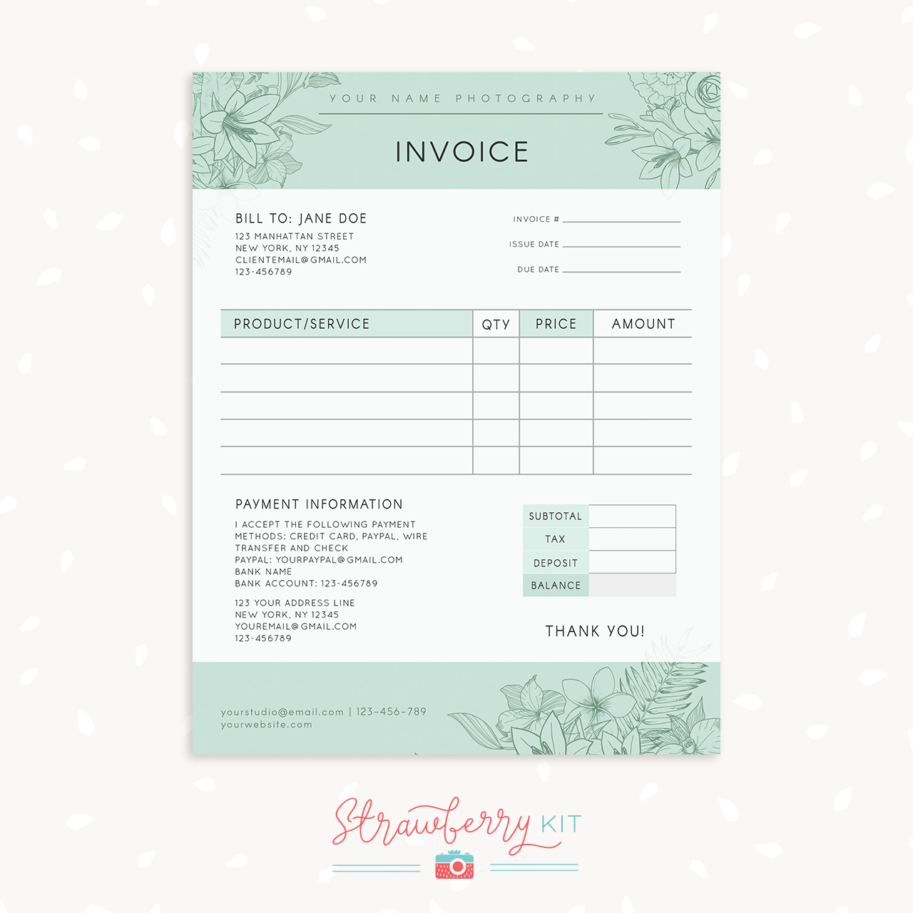 Floral Photography Invoice Template Strawberry Kit - Photography invoice template