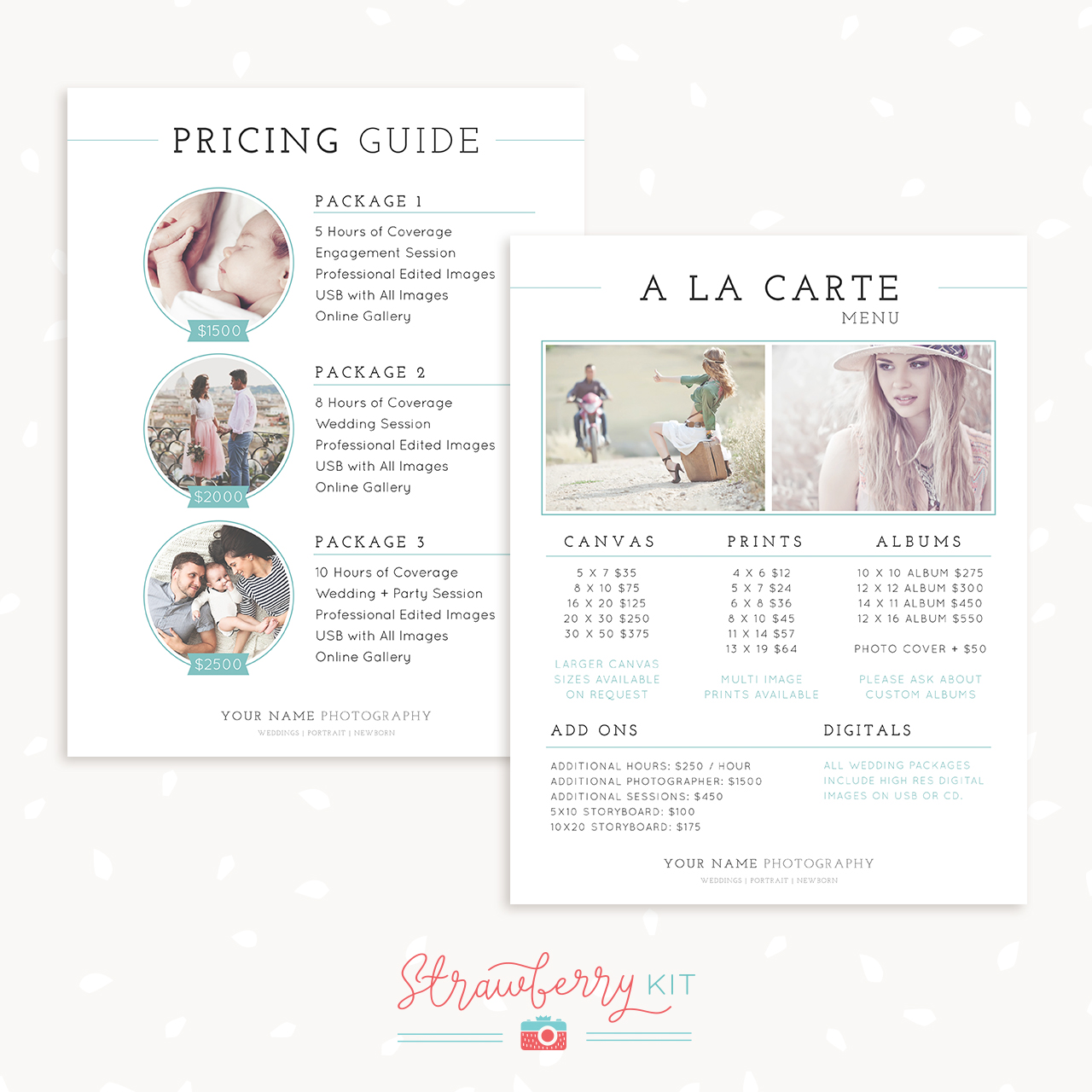 Classical Pricing Guide And A La Carte Menu Template  A La Carte Menu Template