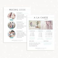 Pricing List template for Photographers