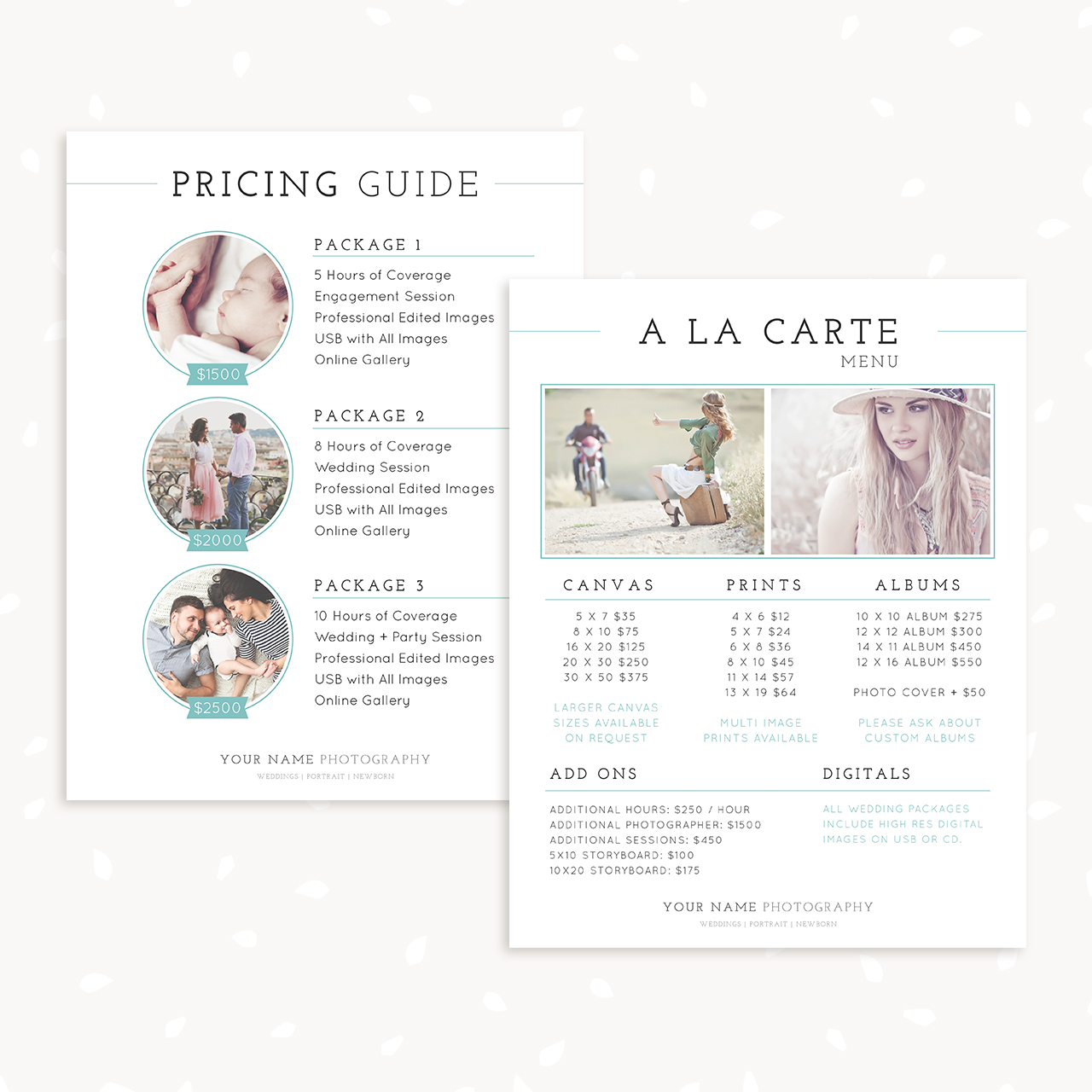 Classical Pricing Guide and A la carte menu template