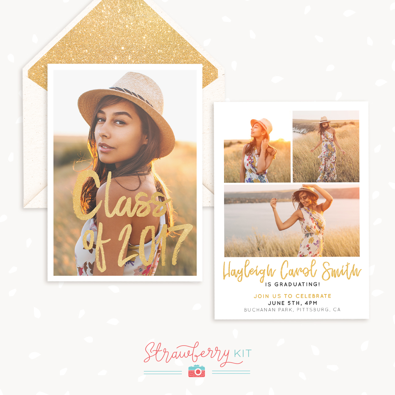 golden strokes graduation announcement template strawberry kit