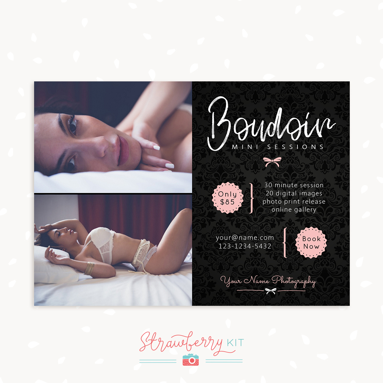 Black Pink Boudoir Mini Sessions Template Marketing Board Photographers