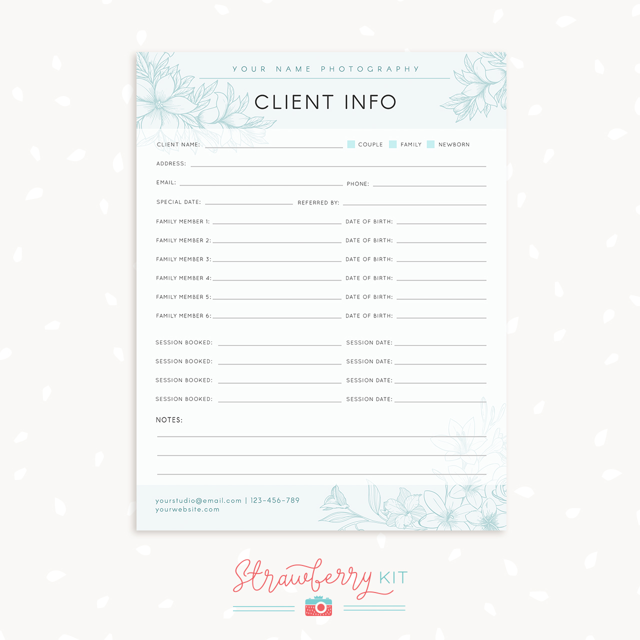 Client information template for photographers strawberry kit for Birth photography contract template