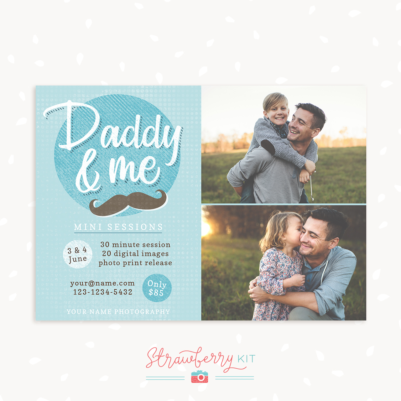 Daddy and me mini sessions photoshop template