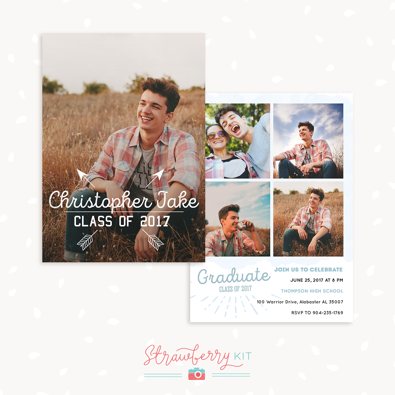 Guy graduation card template