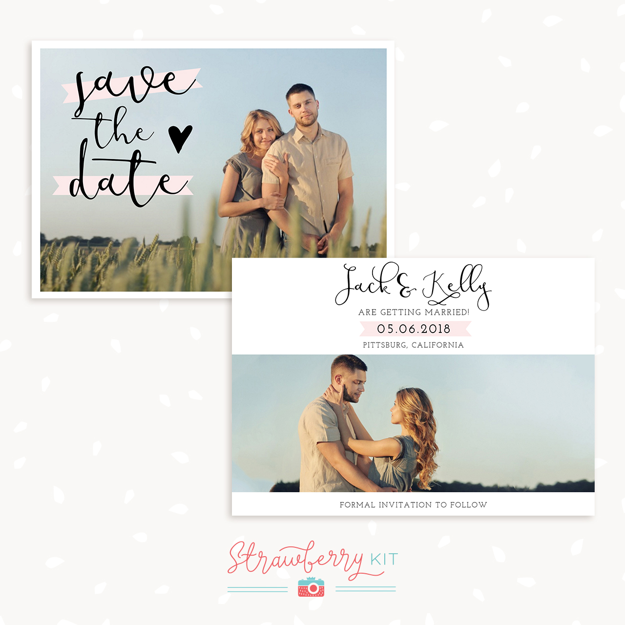 Classic Banner Save the Date Template - Strawberry Kit