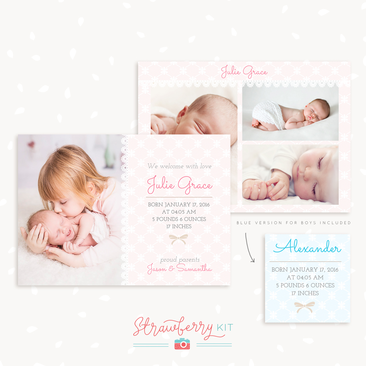 Lace Birth Announcement Template for Photoshop