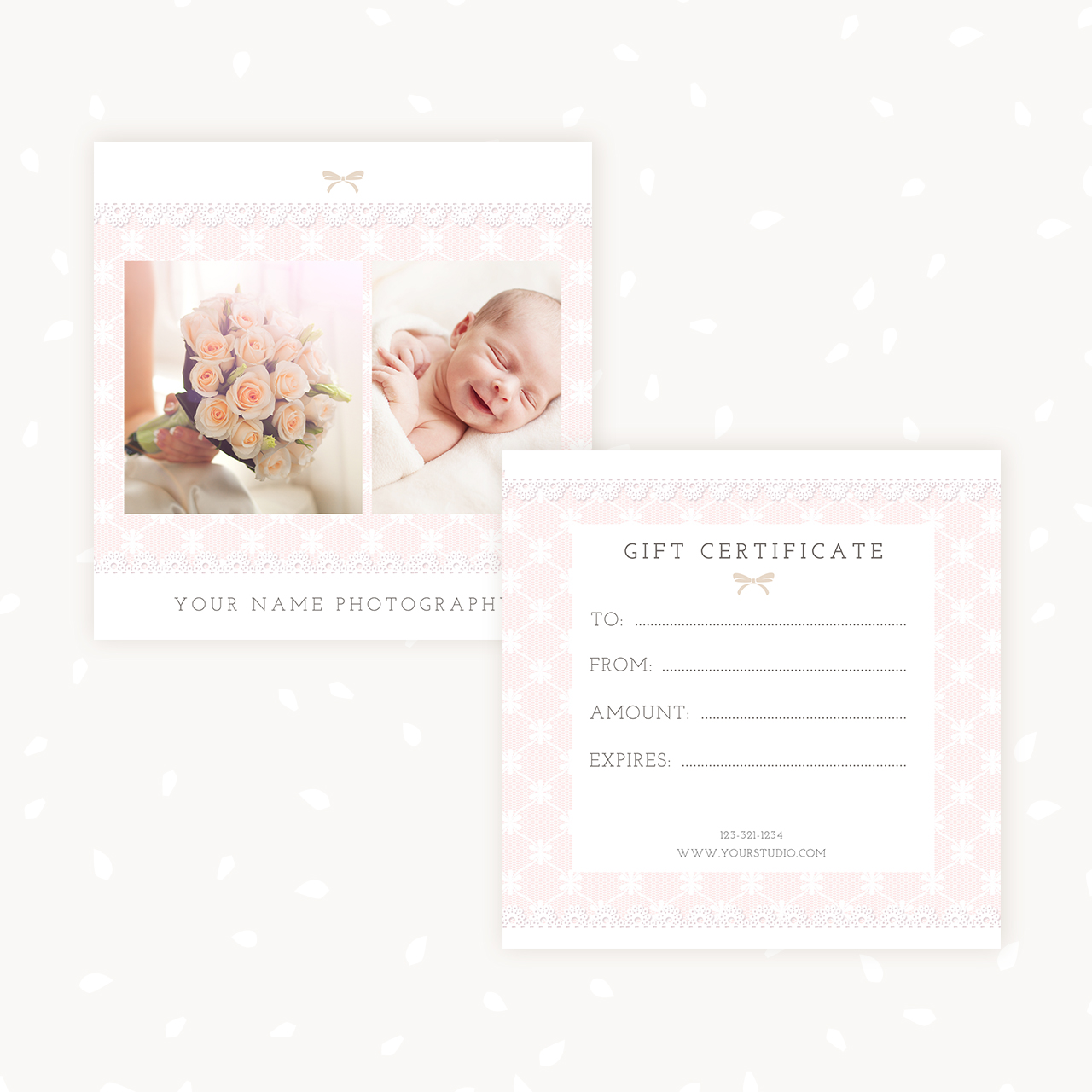gift certificate template photoshop - gift certificate template lace strawberry kit