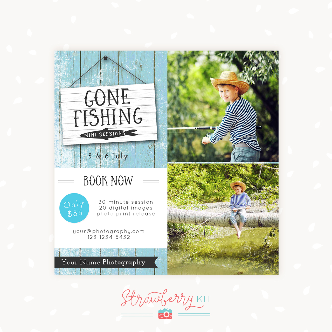 Fishing mini sessions template