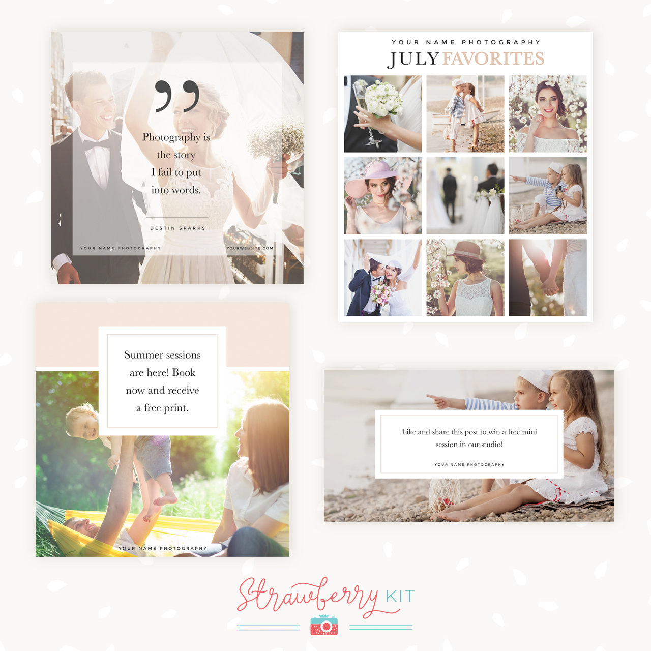 Social Media Templates For Photographers Bundle Of 4 Strawberry Kit
