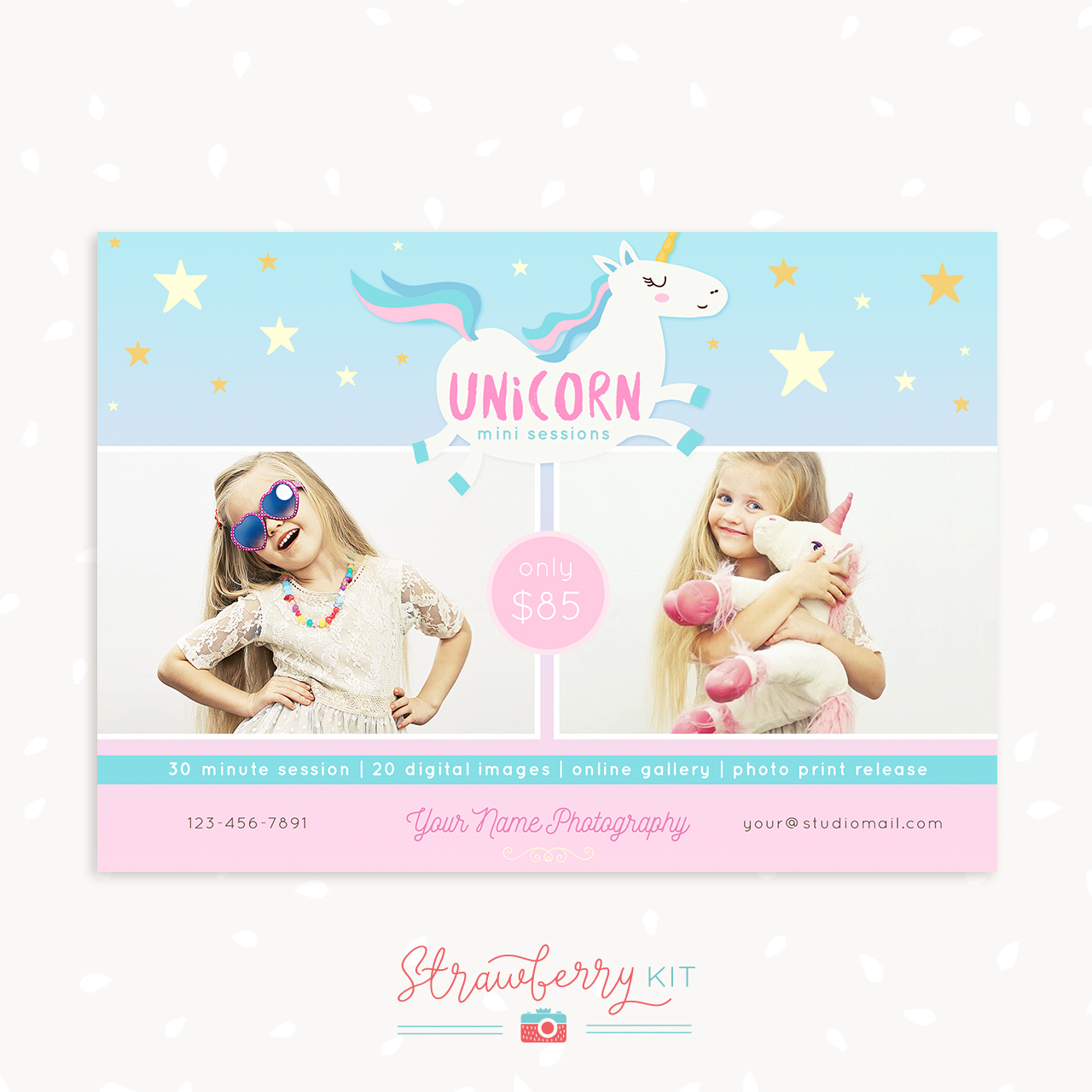 Unicorn mini sessions template