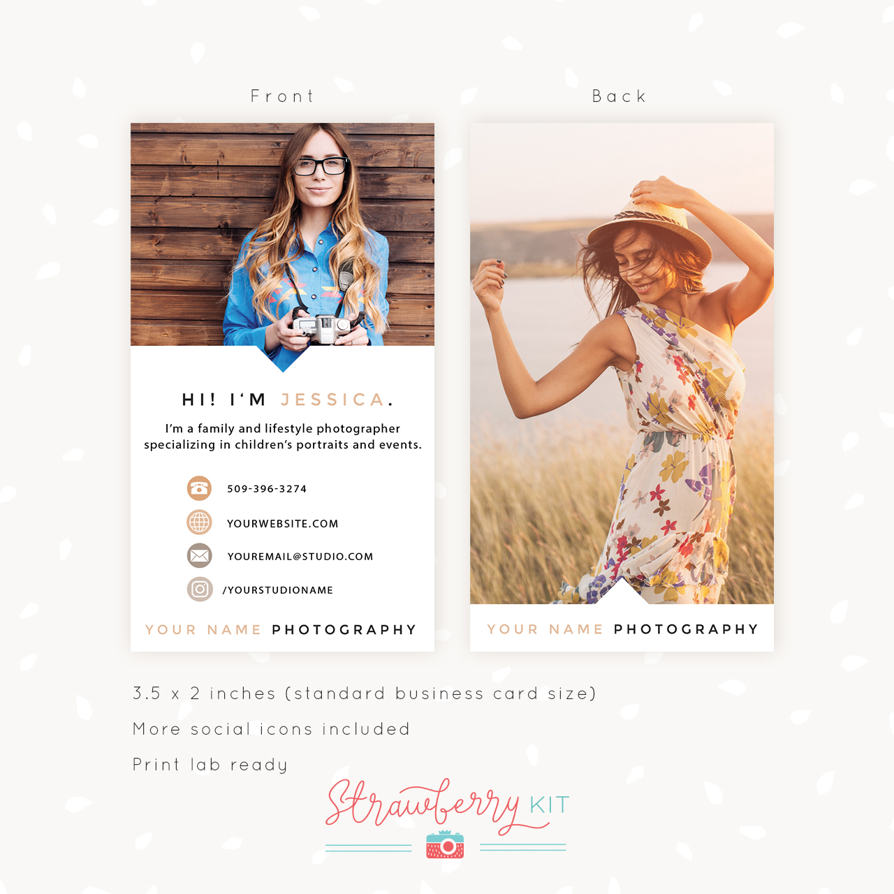 Vertical Business Card Template for Photographers - Strawberry Kit