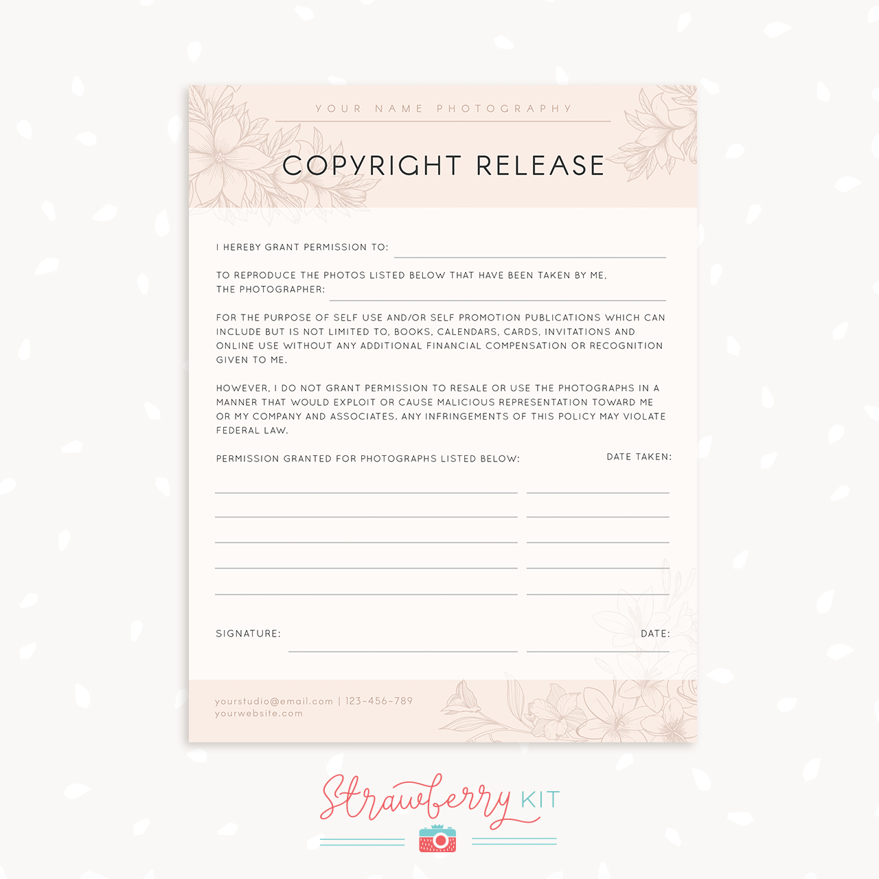 Copyright Release Form Template Strawberry Kit