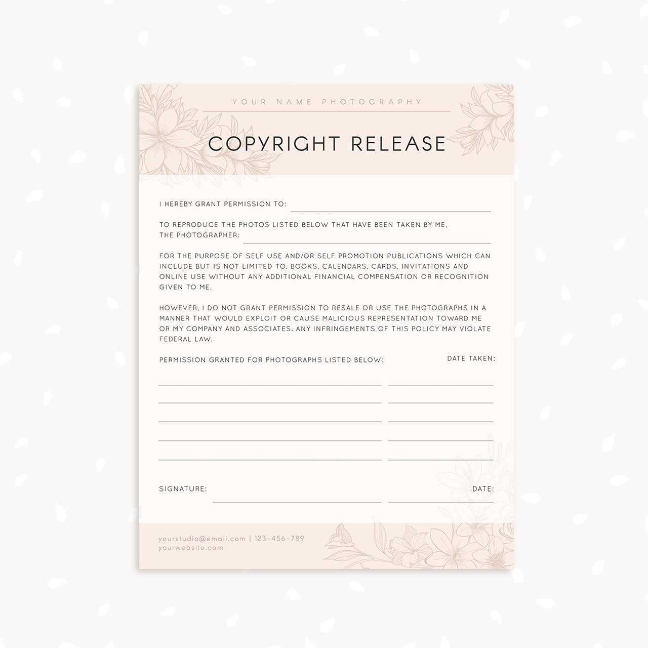 copyright release form template - 28 images - photo copyright ...