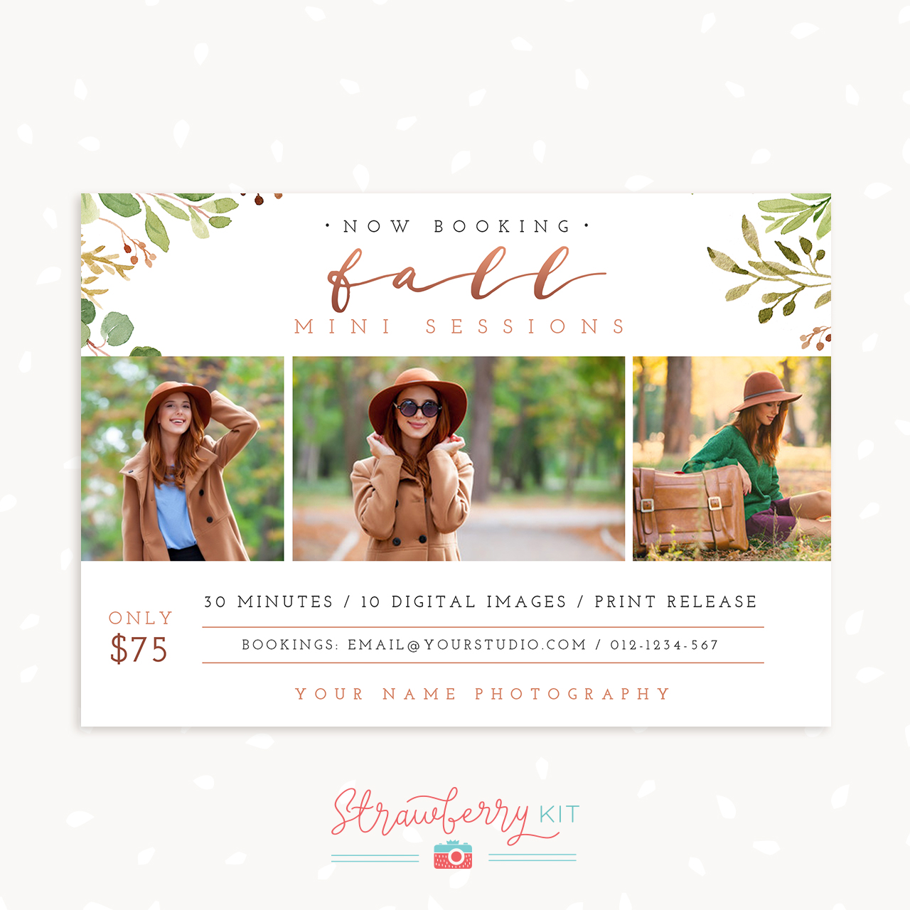 Fall mini sessions template photoshop