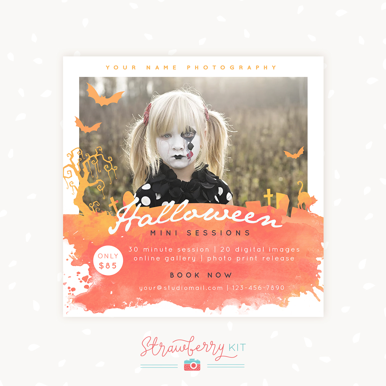 Halloween mini sessions template photographers