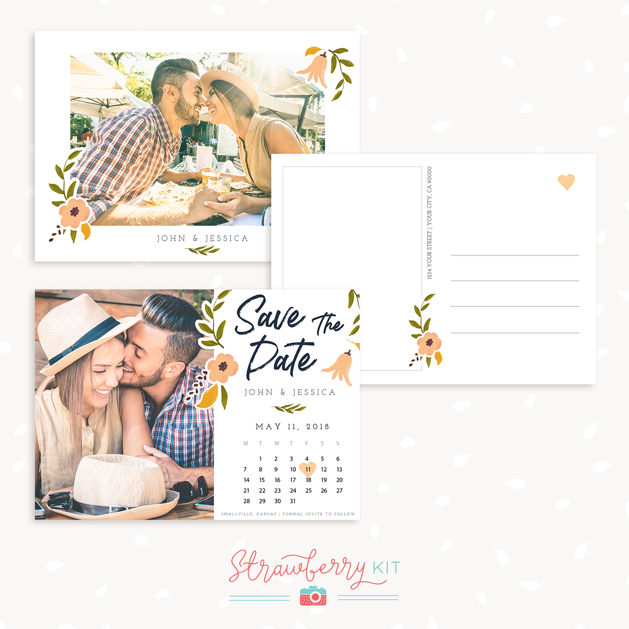 Save The Date Card Template Floral