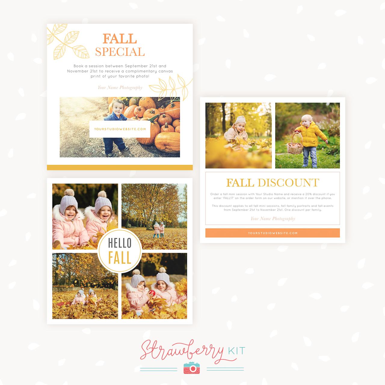 Fall Social Media Templates Photography Strawberry Kit