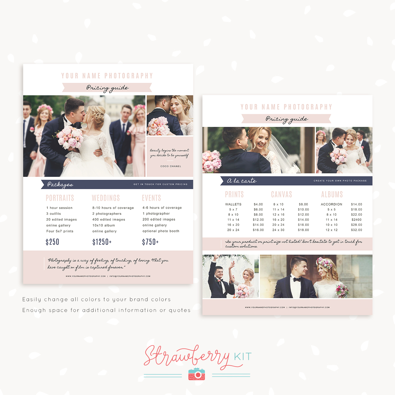 Photographer Pricing Guide Template Romantic