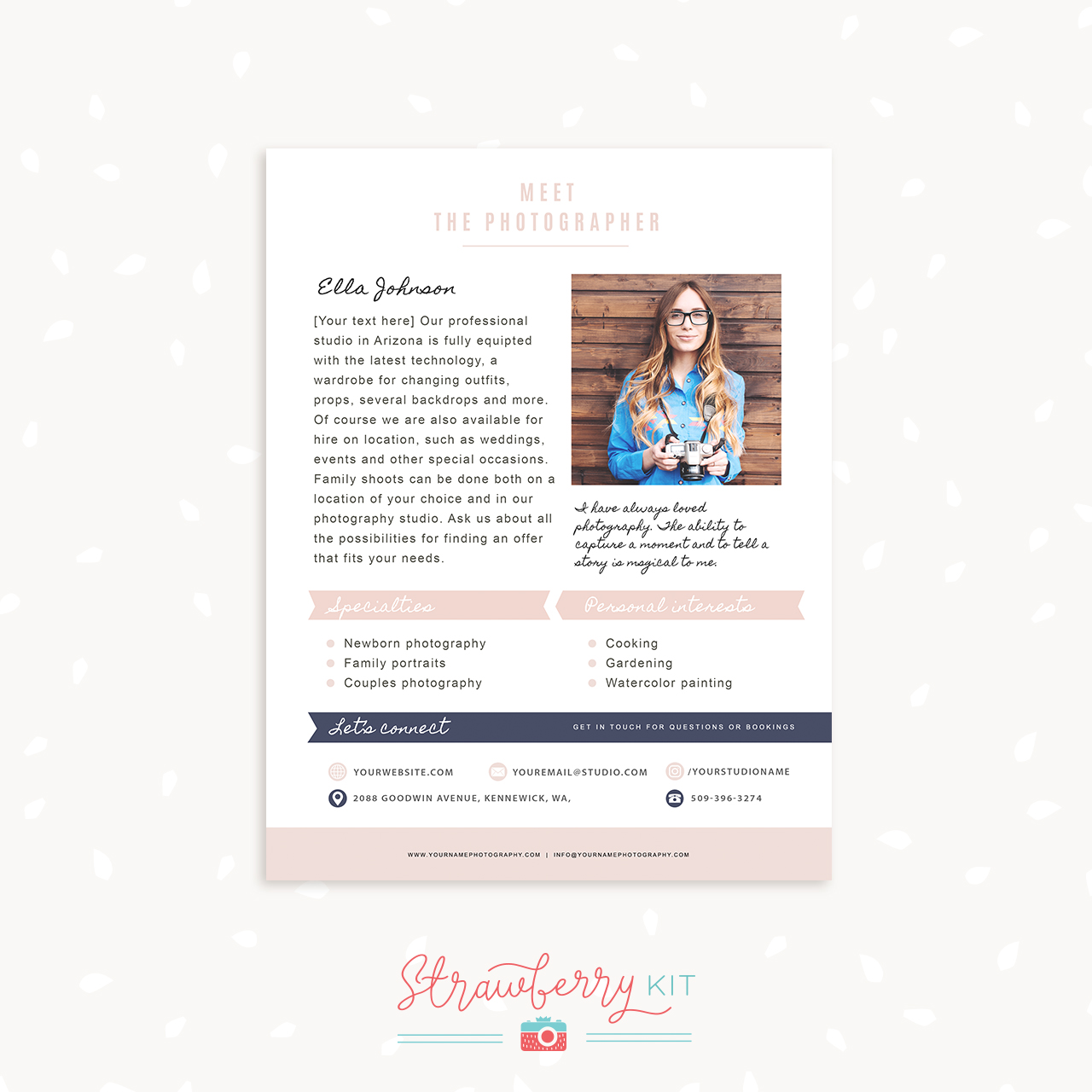 Photography about me page template strawberry kit for Wordpress attachment page template