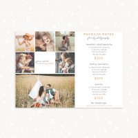 Photography packages pricing card template
