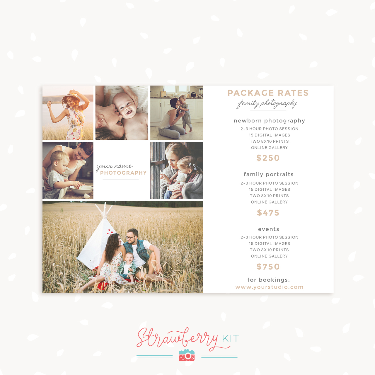 Photography Package Pricing Card Packages Template