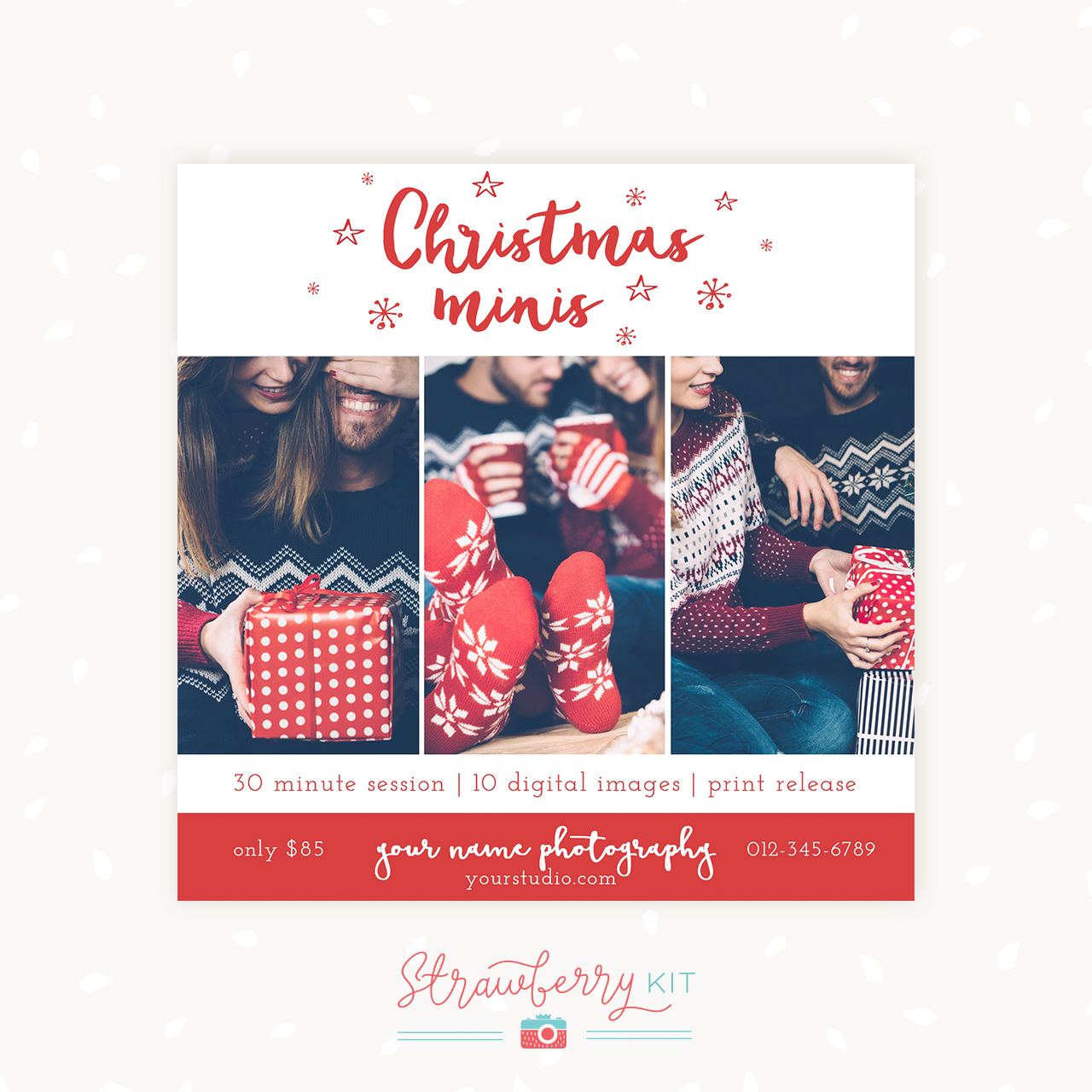 Christmas Mini Sessions template red stars