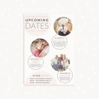 Upcoming dates photographer template bubbles