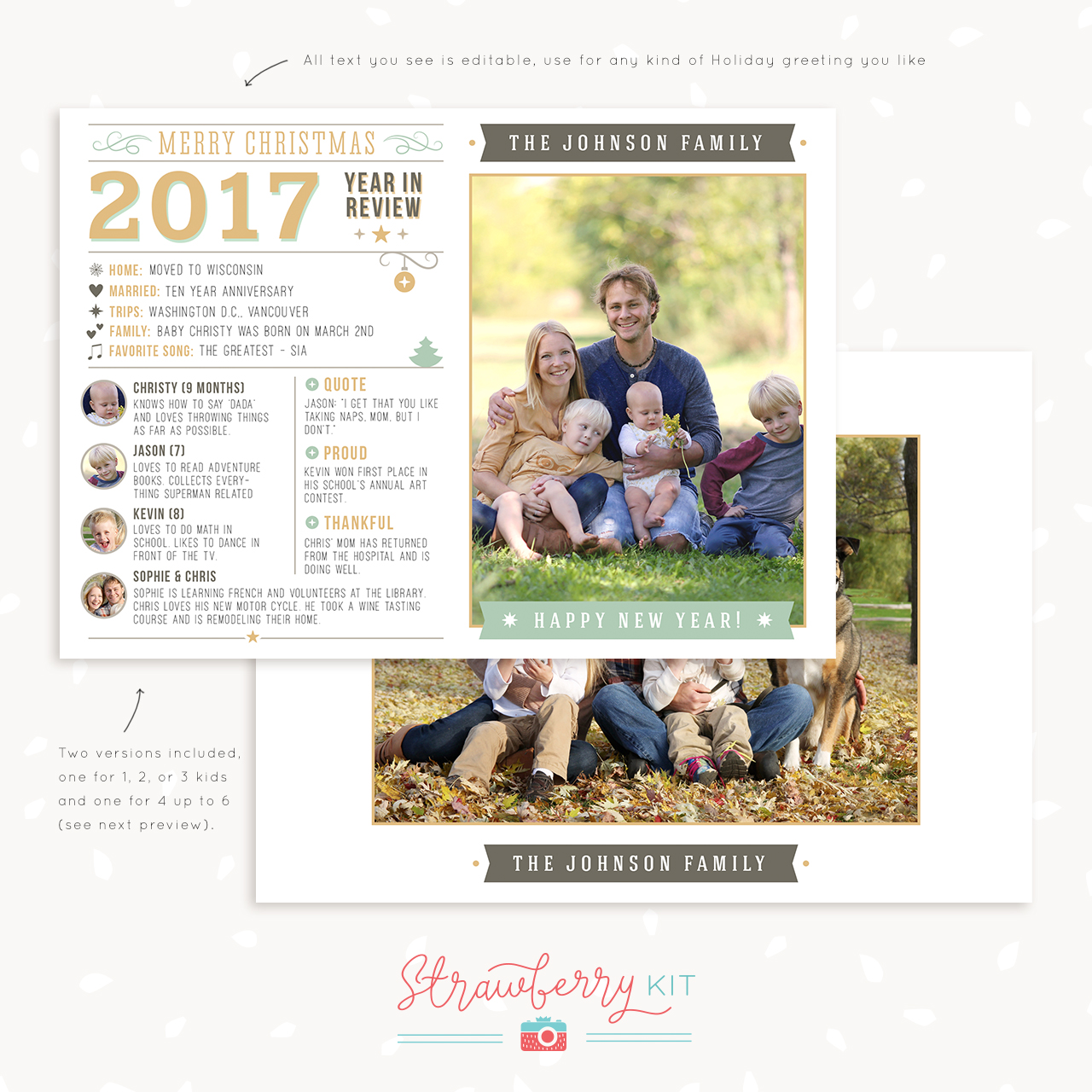 Year In Review Christmas Card Template Strawberry Kit