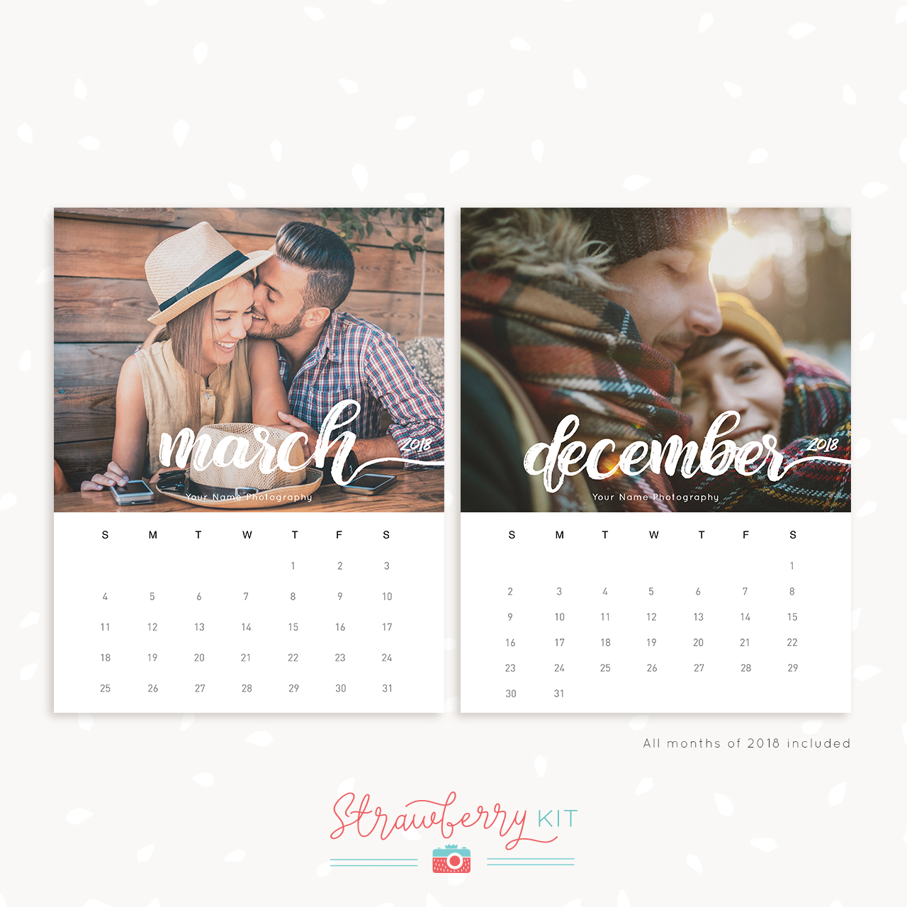 2018 monthly calendar printable photographers