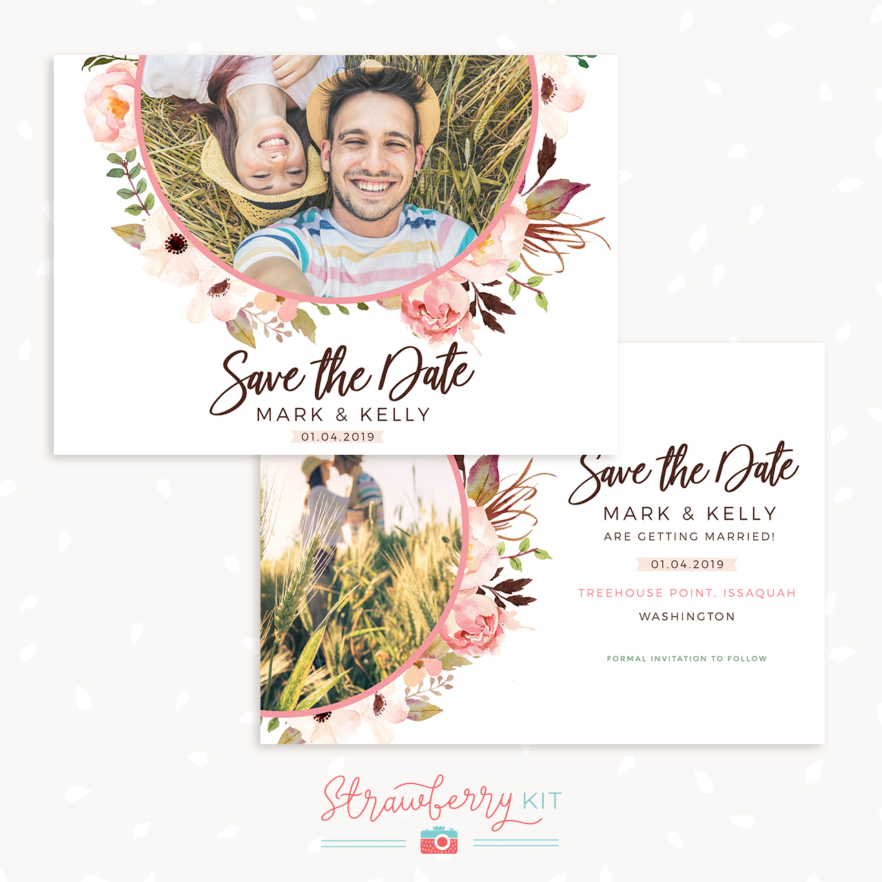 Floral Photography Save the Date Card Template