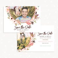 Floral Save the Date Card Template Photography