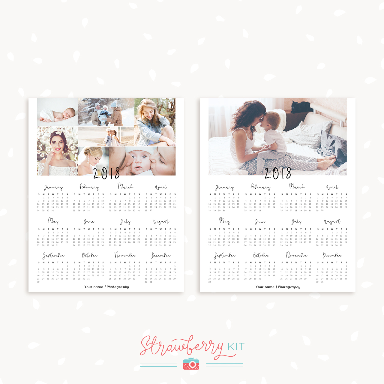 One Page Calendar Template Photographers